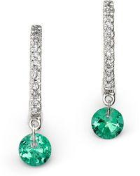 Meira T - 14k White Gold Emerald And Diamond Drop Hoop Earrings - Lyst
