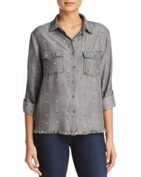Billy T - Heart Print Button-down Chambray Shirt - Lyst