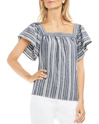 Vince Camuto - Striped Ruffle-sleeve Top - Lyst