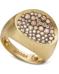 Antonini - Matte 18k Yellow Gold Matera Small Pavé Cognac Diamond Ring - Lyst