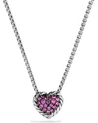 David Yurman | Châtelaine Heart Pendant Necklace With Pink Sapphire | Lyst