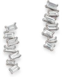 KC Designs - 14k White Gold Mosaic Diamond Baguette Bar Earrings - Lyst