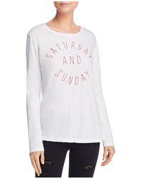 Sundry - Saturday Sunday Embroidered Tee - Lyst