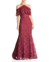 Laundry by Shelli Segal - Cold-shoulder Lace Gown - Lyst