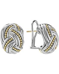 Lagos - 18k Gold & Sterling Silver Torsade Huggie Hoop Earrings - Lyst