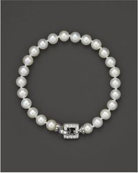 Bloomingdale's - Cultured Freshwater Pearl Bracelet With Diamond Accent Clasp, 7mm - Lyst