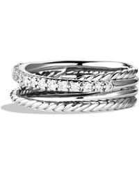 David Yurman - Crossover Ring With Diamonds - Lyst