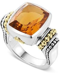 Lagos - 18k Gold And Sterling Silver Caviar Color Medium Citrine Ring - Lyst