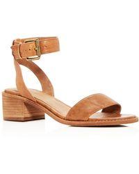 Frye - Women's Cindy Leather Ankle Strap Block Heel Sandals - Lyst