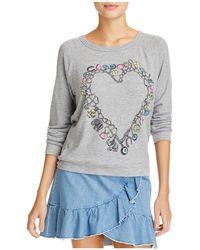 Aqua - Lauren Moshi X Heart Charm Graphic Sweatshirt - Lyst