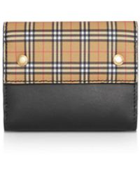 Burberry - Small Scale Check Leather Folding Wallet - Lyst