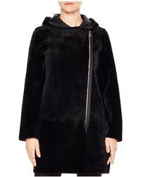 Sandro - Bala Reversible Real Lamb Shearling Coat - Lyst