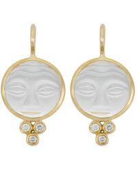 Temple St. Clair - 18k Yellow Gold Moonface Earrings With Rock Crystal And Diamond Granulation - Lyst