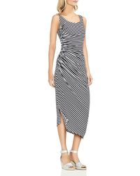 Vince Camuto - Ruched Stripe Midi Dress - Lyst
