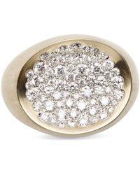 Antonini - Matte 18k White Gold Matera Large Pavé Silvermist Diamond Ring - Lyst