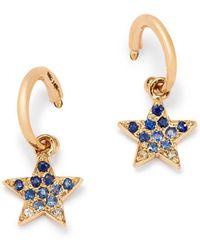 Shebee - 14k Yellow Gold Ombré Blue Sapphire Star Hoop Drop Earrings - Lyst