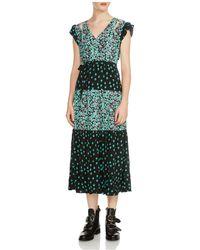 Maje - Renoli Mixed Floral-print Midi Dress - Lyst