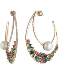 Carolee - Multicolored Crystal & Cultured Freshwater Pearl Double Hoop Earrings - Lyst