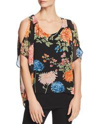 Avec - Cold-shoulder Floral Overlay Top - Lyst