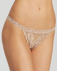 f952422d4fbf Natori Feathers Embroidered Thong 750023 in Blue - Lyst