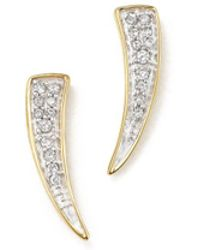 Adina Reyter - 14k Yellow Gold Pavé Diamond Tusk Earrings - Lyst