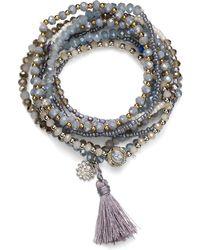 Aqua - Beaded Tonal Gray Bracelets - Lyst