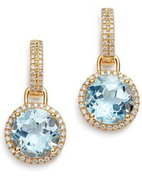 Kiki McDonough - 18k Yellow Gold Grace Round Blue Topaz & Diamond Drop Earrings - Lyst