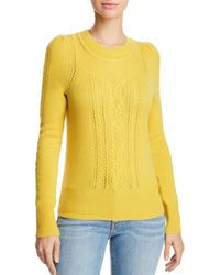 Aqua - Mixed Knit Cashmere Sweater - Lyst