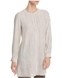 Eileen Fisher - Pinstriped Silk Tunic Top - Lyst