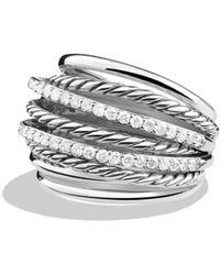 David Yurman - Crossover Dome Ring With Diamonds - Lyst