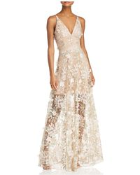Dress the Population - Sidney Floral Illusion Gown - Lyst