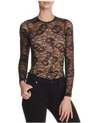 Olivaceous - Lace Long-sleeve Bodysuit - Lyst