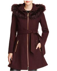 Laundry by Shelli Segal - Faux Fur Trim Belted Fit & Flare Coat - Lyst