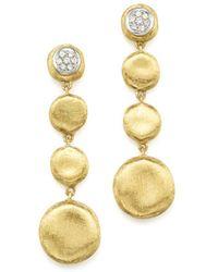 Marco Bicego - Pavé Diamond Jaipur Drop Earrings In 18k White & Yellow Gold - Lyst