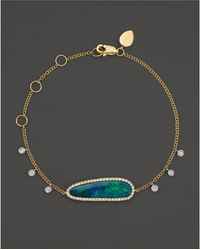Meira T - 14k Yellow Gold Oval Blue Opal And Diamond Bracelet - Lyst