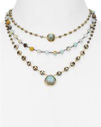 "Ela Rae - Opal & Hematite Layered Pendant Necklace, 14"" - Lyst"