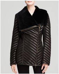 Maximilian - Maximilian Shearling Lamb Coat With Leather Inserts - Lyst