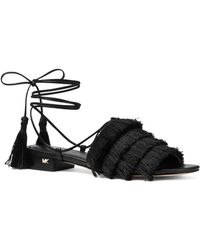 MICHAEL Michael Kors - Women's Gallagher Fringed Ankle Tie Sandals - Lyst