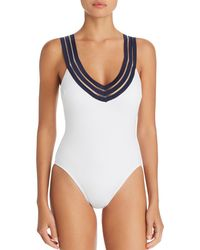 Kenneth Cole - V-neck Crisscross Back One Piece Swimsuit - Lyst