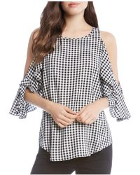 Karen Kane - Printed Cold-shoulder Top - Lyst