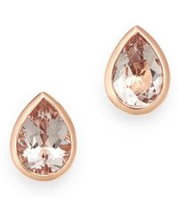 Bloomingdale's - Morganite Pear Shaped Bezel Set Stud Earrings In 14k Rose Gold - Lyst