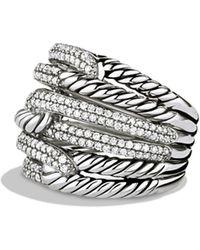 David Yurman - Labyrinth Triple-loop Ring With Diamonds - Lyst