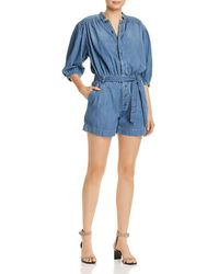 FRAME - Cali Button - Front Chambray Romper - Lyst