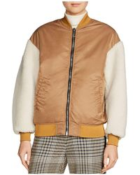Maje - X Schott Boston Shearling-sleeve Bomber Jacket - Lyst