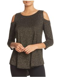 Status By Chenault - Metallic Cold Shoulder Top - Lyst
