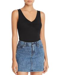 Three Dots - Shirred Jersey Bodysuit - Lyst