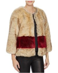 Love Token - Color-blocked Faux Fur Coat - Lyst