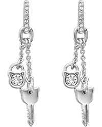 Karl Lagerfeld Lock & Key Choupette Linear Earrings - Metallic