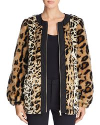 Donna Karan - Faux Fur Leopard Print Zip Coat - Lyst
