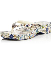 Tory Burch - Women's Printed Cut-out Wedge Thong Sandals - Lyst